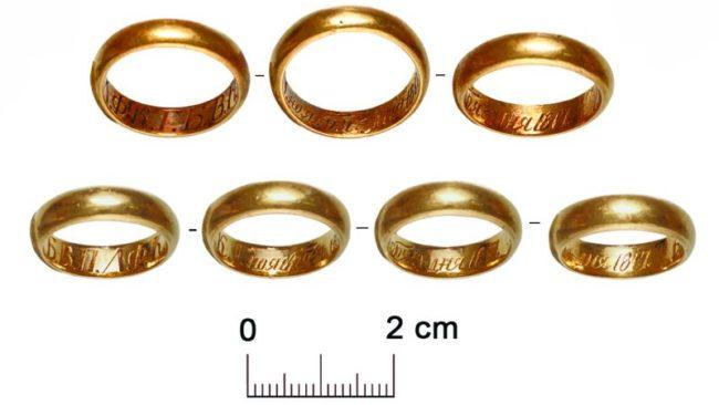 Золотые обручальные кольца из раскопок в Сарове. Фото: пресс-служба ИА РАН.